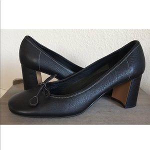 Prada Block-Heel Bow Pump Heels Black Leather